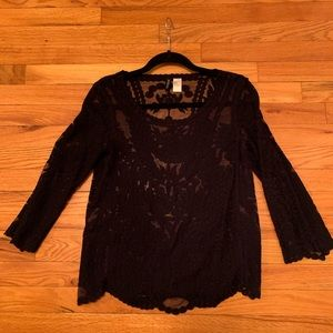 Divided Lace Navy Blouse